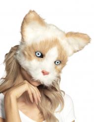 Pluche beige en wit kat masker voor volwassenen