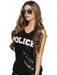 Politie top met zwarte lovertjes voor vrouwen