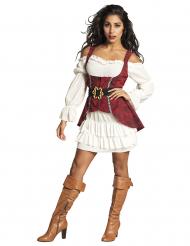 Wit en bordeaux rood barok piraten kostuum voor vrouwen
