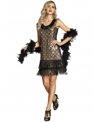 Goudkleurig en zwart pauw charleston kostuum voor vrouwen
