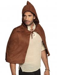 Bruine middeleeuwse cape voor volwassenen