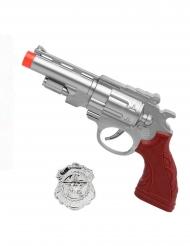 Zilverkleurig nep pistool met politie badge