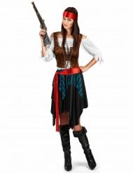 Zwart en blauw gestreept piraten kostuum voor dames - Plus Size