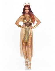 Goudkleurige zonnekoningin kostuum voor vrouwen