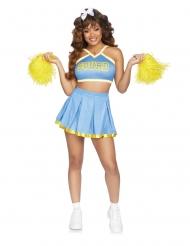 Lichtblauw en geel cheerleader kostuum voor vrouwen