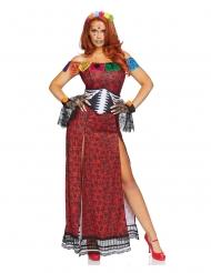Rood luxe Dia de los Muertos kostuum voor vrouwen