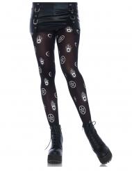 Zwarte panty met mystieke symbolen voor dames