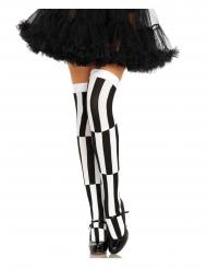 Zwart en wit gestreepte kousen voor vrouwen
