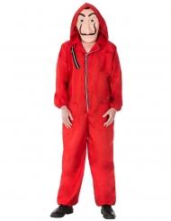 Rood bankovervaller kostuum met masker voor volwassenen
