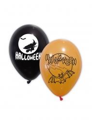 10 zwarte en oranje latex Halloween ballonnen