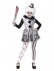 Wit en zwart killer clown kostuum voor dames