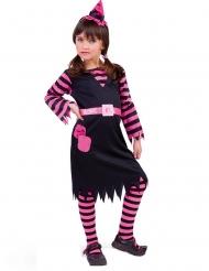 Zwarte en roze heksen outfit voor meisjes