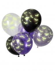 6 latex fosforescerende vleermuis ballonnen
