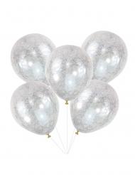 5 doorzichtige latex zilverkleurige engelenharen ballonnen