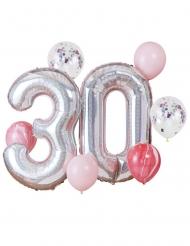 Zilverkleurige en roze 30 jaar ballonnen
