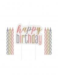 Pastelkleurige happy birthday verjaardagskaarsjes
