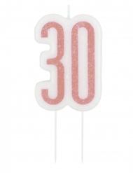 Glitter roze 30 jaar kaars op prikker