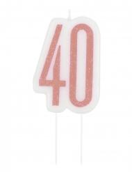 Roze glitter 40 jaar verjaardagskaars