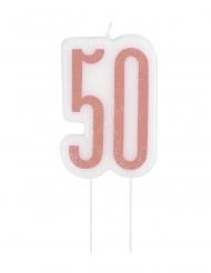 Glitter roze 50 jaar kaars op prikker