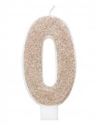 Glitter champagnekleur cijfer verjaardagskaars
