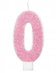 Glitter roze cijfer verjaardagskaars