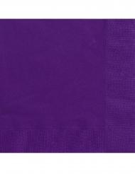 20 kleine papieren donkerpaarse servetten