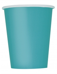 8 turquoise blauwe kartonnen bekers