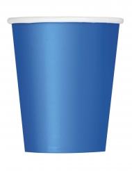 8 kartonnen blauwe bekers met witte rand