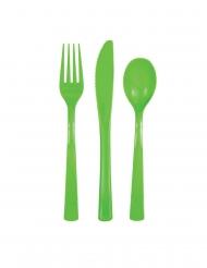 Groene plastic 18 delige bestek set