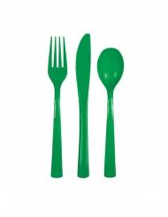 Smaragdgroene plastic 18 delige bestek set
