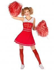 Rood USA cheerleader kostuum voor dames