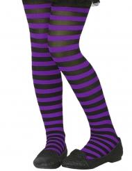 Paars en zwart gestreepte panty voor kinderen