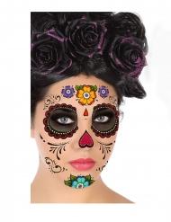 Veelkleurige Dia de los Muertos gezicht tatoeage