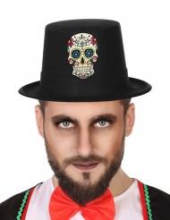 Zwarte Dia de los Muertos hoed met doodskop