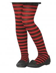Rood en zwart gestreepte panty voor kinderen