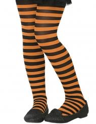 Oranje en zwart gestreepte panty voor kinderen