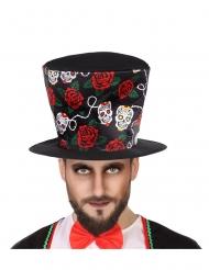 Zwarte Dia de los Muertos hoge hoed voor volwassenen