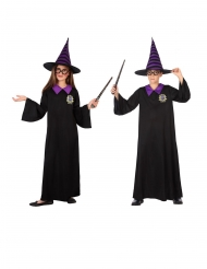 Zwart en paars tovenaar leerling kostuum voor kinderen