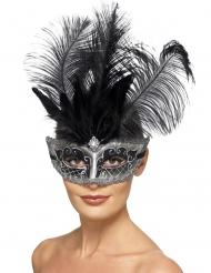 Grijs en zwart Venetiaans masker met veren voor volwassenen
