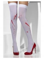 Ondoorzichtige witte sokken met bloedvlekken voor vrouwen