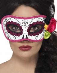 Venetiaans Dia de los Muertos masker met roze rand voor volwassenen