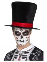 Fluweelachtige Dia de los Muertos hoge hoed voor volwassenen