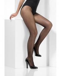 Zwarte netstof panty met strass voor vrouwen