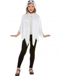 Witte fluweelachtige spook cape met capuchon voor kinderen