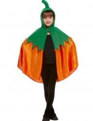 Oranje fluweelachtige pompoen cape met capuchon voor kinderen