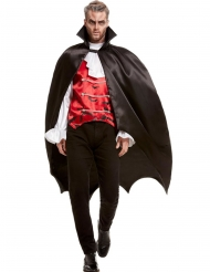 Satijnachtige zwarte vleermuis cape voor volwassenen