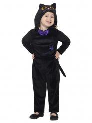 Fluweelachtige zwarte kat outfit voor kinderen