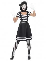 Zwart en wit mime kostuum met schmink voor vrouwen