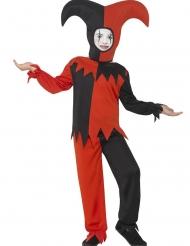 Zwart en rood hofnar kostuum voor kinderen