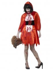 Satijnachtig zombie roodkapje kostuum voor vrouwen